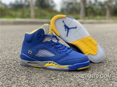 Best Online Shoes Store Where to Buy Good Quality Air Jordan 5 Retro GS Blue/Yellow For Men and Women Sneakers with Cheap Price. Nike Air Jordan 5, Air Jordan 5 Retro, Air Jordan Shoes, Jordan Swag, Jordan Sneakers, Mens Nike Air, Nike Men, Buy Sneakers, White Basketball Shoes