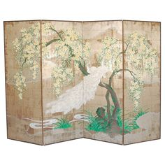 """Four Panel Folding Screen by Robert Crowder  USA  Circa 1960s  A beautiful hand-painted folding screen featuring a pair of white peacocks perched in a yellow cherry blossom tree, executed on tea paper, signed Robert Crowder (see Image 5). The four panels measure six feet in height, and approx. 48"""" in width. The screen also has mounting hardware on the back so that it can be hung on the wall."""