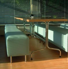 BBC canteen - bespoke table design (attic 2) Canteen, Attic, Bespoke, Bbc, Blinds, Conference Room, Curtains, Table, Furniture