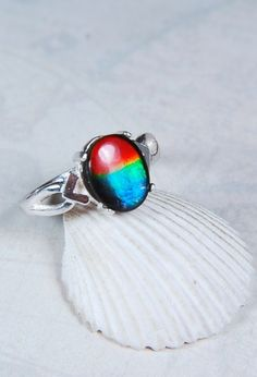 Ammolite jewelry ring.Top quality tricolour 10x8mm ammolite gem set in sterling silver.