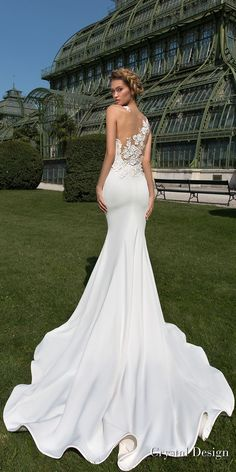 crystal design 2018 sleeveless halter neck simple clean elegant fit and flare wedding dress sheer lace back chapel train (keren) bv