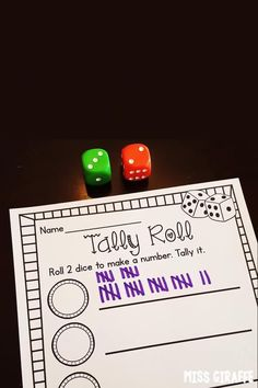 Tallies kindergarten math center or first grade activity to practice making tally marks by rolling dice to figure out what number to graph Fun Math Activities, First Grade Activities, 1st Grade Math, Preschool Ideas, Math Games, Number Sense Kindergarten, Teaching Kindergarten, Teaching Resources, Teaching Ideas