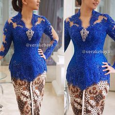 Royal blue kebaya