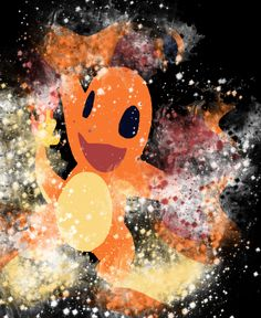 Charmander in a splatter art style with a black back ground