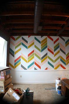Kristen F. Davis Designs: Herringbone Wall. Oliver's room??