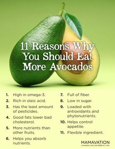 Other than the fact avocados are tasty, see how good they are for you.  Add to your salad, make guacamole, add avocados to your sandwich.