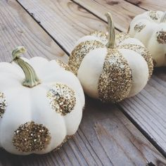 Fabulous Halloween idea with or without lights: Glitter pumpkins! And white pumpkins no less. Be still my heart. Glitter Pumpkins, White Pumpkins, Painted Pumpkins, Halloween Pumpkins, Fall Halloween, Halloween Crafts, Halloween Decorations, Classy Halloween, Mini Pumpkins