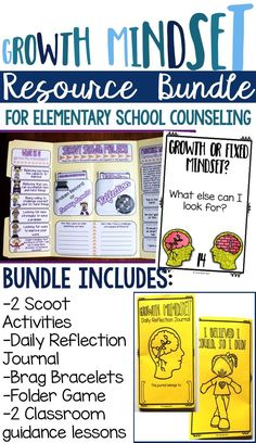 Growth mindset resource bundle for elementary school counseling! Includes games, reflection journal, classroom guidance lessons, and more! -Counselor Keri