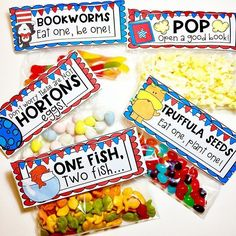 ❤️📖🇺🇸❤️ Are you ready for RAA? These snack bag toppers are included in my RAA pack along with STEM activities, centers, parent letter,… Dr. Seuss, Dr Seuss Week, Dr Seuss Snacks, Dr Seuss Activities, Stem Activities, Alphabet Activities, Reading Activities, Dr Seuss Birthday Party, Dr Seuss Graduation Party