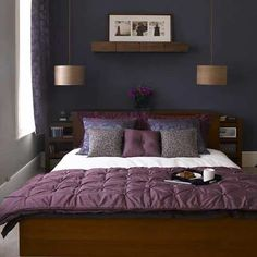 Small bedroom ideas for-the-home. Like the pullouts on side of headboard for shelving