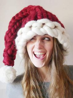 Knitting Patterns Chunky Chunky knit Santa Hat – Knitted Christmas hat – hand knitted chunky red and white christmas hat Wom… Unique Christmas Gifts, Noel Christmas, Beautiful Christmas, White Christmas, Amazon Christmas, Christmas Things, Unique Gifts, Jingle Bell, Knitting Yarn
