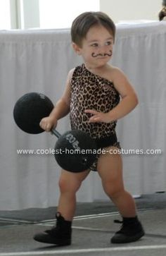 Homemade Strongman Costume: I thought of dressing my son, Robbie, as a strong man for Halloween shortly after he was born. However, I knew I had to wait patiently for him to be able