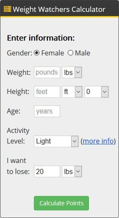 How Many Weight Watchers Points Am I Allowed? Free calculator to find total points per day. (Note: As you loose weight, you will need to recalculate for new points allowed)