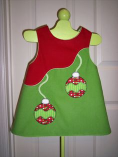 Ollie the Ornament Ready Set Appliqué on red & green corduroy jumper (Children's Corner - Lucy)