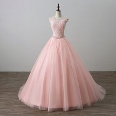Long Pink Formal Dresses Featuring Sheer Neck And Lace Applique Bodice -- Long Elegant Prom Dress, Floor Length Tulle Evening Gown by prom dresses, $167.44 USD
