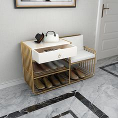 White Storage Entryway Bench Gray Upholstered Modern Bench with Drawer&Shelf Manufactured Wood Metal Entryway Bench Storage, Storage Ottoman Bench, Upholstered Bench, Bench With Storage, Ottoman Footstool, Brown Sofa Decor, Bench With Drawers, Living Room Bench, Ottoman Furniture
