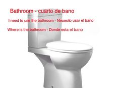 Do not know where the bathroom is in a foreign country, ask this. Basic Spanish Words, Toilet, Bathroom, Country, Washroom, Flush Toilet, Rural Area, Full Bath, Toilets