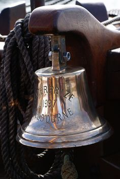 ☀ sinos e luzes - Bell on The Enterprize, Tall Ship Sea Captain, Travel Humor, Sail Away, Set Sail, Wooden Boats, Tall Ships, Catamaran, Water Crafts, Nautical Theme