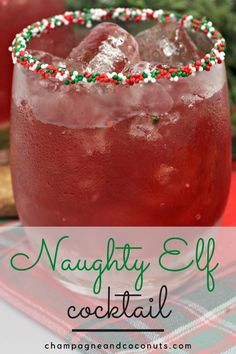 When it's time to hide the elf, pour yourself a Naughty Elf Cocktail. This Elf on the Shelf inspired drink is made with cranberry and grapefruit juice and has pomegrante and orange liqueurs along with some spiced rum! It's absolutely delicious and perfect to serve for the holidays. #christmasdrinks #elfontheshelf #spicedrum #cranberry #grapefruit #pomegranate Spiced Rum Drinks, Rum Cocktail Recipes, Cocktail And Mocktail, Cocktail Desserts, Yummy Drinks, Christmas Drinks Alcohol, Christmas Cocktails, Holiday Drinks, Punch Recipes
