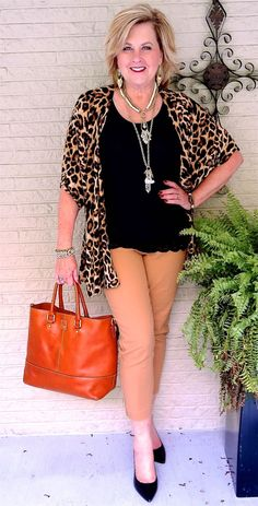 50 IS NOT OLD | ANIMAL PRINT IS HUGE | Leopard Print | Kimono | Black & Brown | Fashion over 40 for the everyday woman