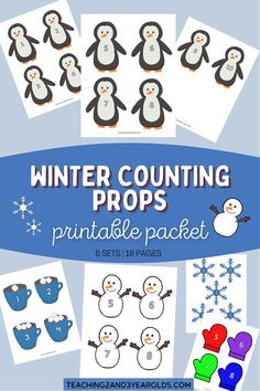 Printable Toddler Winter Counting Props - 6 Sets for Circle Time! Use as visuals while counting to ten and as a table activity. #winter #math #counting #circletime #printable #props #toddler #teachers #2yearolds #3yearolds #teaching2and3yearolds Circle Time Activities, Activities For 2 Year Olds, Toddler Preschool, Toddler Activities, Snowman Songs, Toddler Circle Time, Counting Songs, Toddler Behavior, 3 Year Olds
