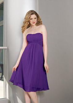 strapless purple bridesmaid dress