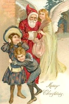 what's this 'terror at Christmas' ? The angel and Father Christmas seem to conspiring and the girl is covering her ears and the boy is freaked out. Christmas Fairy, Victorian Christmas, Father Christmas, Christmas Angels, Christmas Crafts, Christmas Things, Vintage Christmas Images, Retro Christmas, Vintage Cards