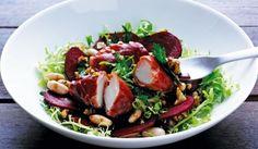 Salat m kammuslinger i skinke