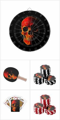 Games Skull of flames. Personalized Darts, Poker Cards, Poker Chips, Ping Pong Balls, Table Tennis Paddles.