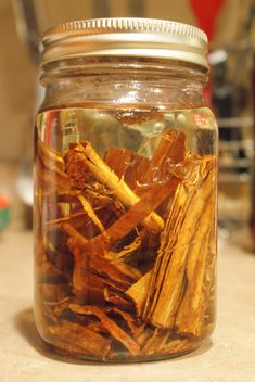 Making Cinnamon Oil for Christmas Pine cones using only two things:  Cinnamon sticks and vegetable  cooking oil