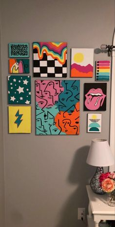 Easy Canvas Art, Simple Canvas Paintings, Small Canvas Art, Mini Canvas Art, Diy Canvas, Easy Canvas Painting, Hippie Painting, Trippy Painting, Diy Painting