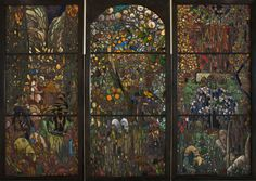 Stained-glass triptych: El Gorg Blau (The Blue Pool) by Joaquim Mir Trinxet. Courtesy of the National Museum of Catalonia.