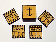 Set of 4 Navy Military Coasters, armed forces coasters on Etsy, $10.00
