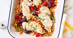 This is the perfect midweek supper – just tip the chicken breasts, cherry tomatoes and chickpeas into a tray and roast with tarragon. Dinner just doesn't get easier than that!