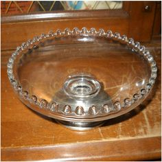Crown Weighted Sterling Silver Footed Dish Bowl Beaded Glass Candlewick Style Listing in the Solid Silver,Silver,Antiques Category on eBid United States