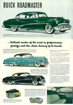 1951 Buick Brochure page 1 of 1 Vintage Motorcycles, Cars Motorcycles, Buick Roadmaster, Buick Cars, Ad Car, American Classic Cars, Car Posters, Poster Ads, Car Advertising