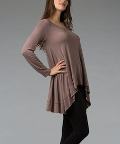 Taupe Scoop Neck Hi-Low Top (more colors) : cute