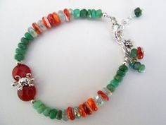 Sea Turtle Faceted Peruvian Opal, Carnelian, Coral Spiny Oyster and Fluorite Artisan 925 Silver Bracelet Designed by Blue Tortue
