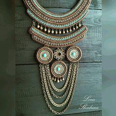 Колье... Сделан на заказ. Металлизированный бисер, металлические бляшки с бирюзой, металлические бубенчики и фурнитура, изнанка натуральная кожа #lenok_shandorka #handmadejewellery #jewelry #boho #bohostyle #bohojewelry #этно #этностиль #бохо #бохостиль #этника #бисерныеукрашения #ожерелье