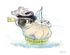Pirate Pug Art Print - 5x7 - Funny Pug Dog Art, Cute Pug Drawing, Pug Illustration, Adventure Art, Funny Art Print, Nautical Decor by Inkpug