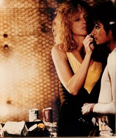 Michael Jackson and Karen Faye on the set of Captain EO