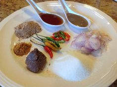 2 tbs sugar1 tbs'Kapi'or shrimp paste1 tbs fish sauce1 tbs'Padaek'*1 tbs'Khao Khua'or ground roasted rice (see pantry if you don't know how to make it)1 shallot, sliced1 tsp ground chili pepper2-3 fresh chili pepper, sliced