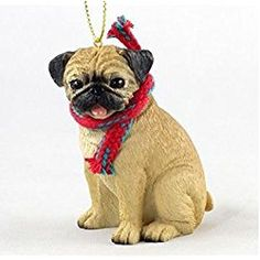 Pug (Fawn) with Scarf Christmas Ornament (Large 3 inch version) Dog