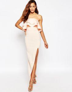 ASOS Premium Ruffle Bandeau Scuba Maxi Dress at asos.com daf858b3b