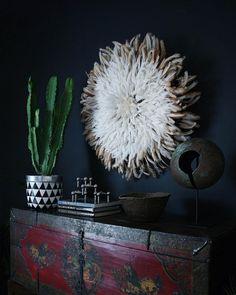 "apartmentf15: "" evening light, african juju hat, #cactus , tibetan chest , african currency, african makenge basket @apartmentf15 """
