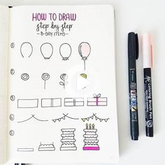 hese are very helpful birthday items step by step by and actually cute in every way.🍭🎂🎉🎈 - Use the code 'SHIBADOODLE' Birthday Bullet Journal, Bullet Journal Notebook, Bullet Journal Ideas Pages, Bullet Journal Inspiration, Bullet Journals, Planner Doodles, Bujo Doodles, Doodle Drawings, Easy Drawings