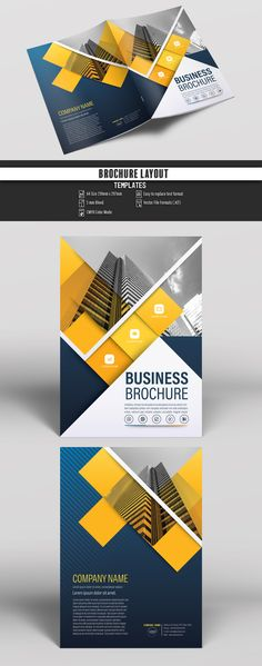 Brochure Cover Layout with Blue and Yellow Accents 6. Buy this stock template and explore similar templates at Adobe Stock #Brochure #Business #Proposal #Booklet #Flyer #Template #Design #Layout #Cover #Book #Booklet #A4 #Annual #Report| Brochure template | Brochure design template | Flyers | Template | Brochures | Flyer Background | Background design | Business Proposal | Proposal Design | Booklet | Professional | Professional - Proposal - Brochure - Template