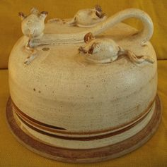 Vintage Pottery Lidded Cheese Dish with Three Mice