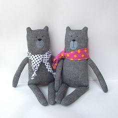 BEAR toy plush bear baby linen toy CUDDLY by CherryGardenDolls