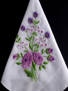 Embroidered vintage hanky vintage by HooksAndRoses on Etsy, $15.00